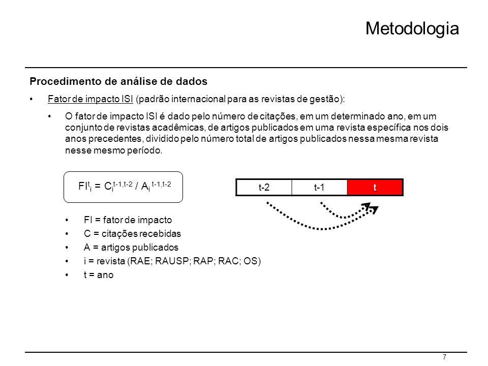 7 Metodologia Procedimento de análise de dados Fator de impacto ISI (padrão internacional para as revistas de gestão): O fator de impacto ISI é dado p