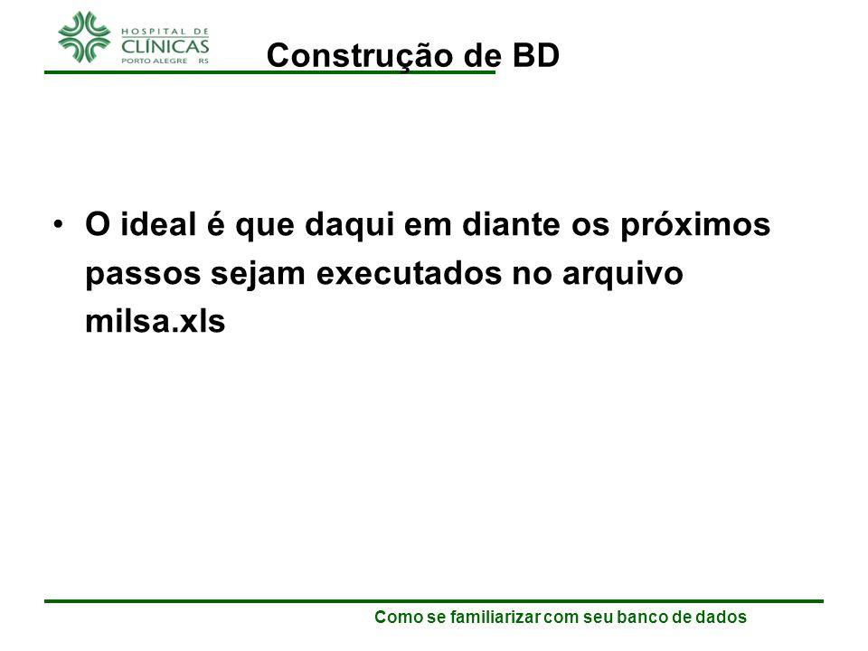 Como se familiarizar com seu banco de dados Construção de BD Vamos iniciar o uso do SPSS.