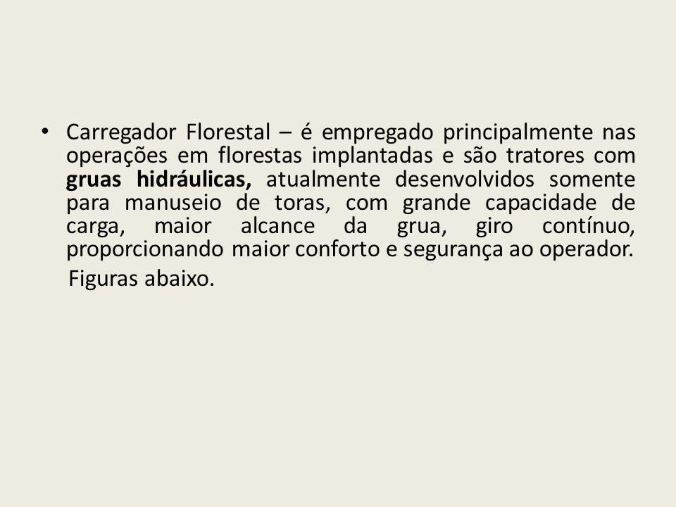 Carregador Florestal – é empregado principalmente nas operações em florestas implantadas e são tratores com gruas hidráulicas, atualmente desenvolvido
