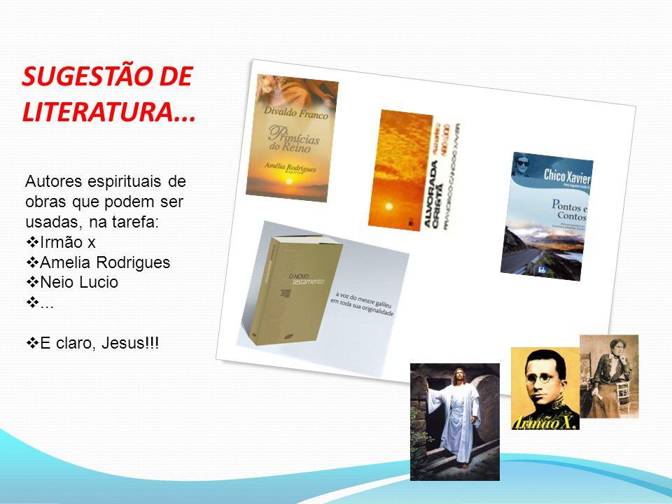 SUGESTÃO DE LITERATURA... Autores espirituais de obras que podem ser usadas, na tarefa: Irmão x Amelia Rodrigues Neio Lucio... E claro, Jesus!!!