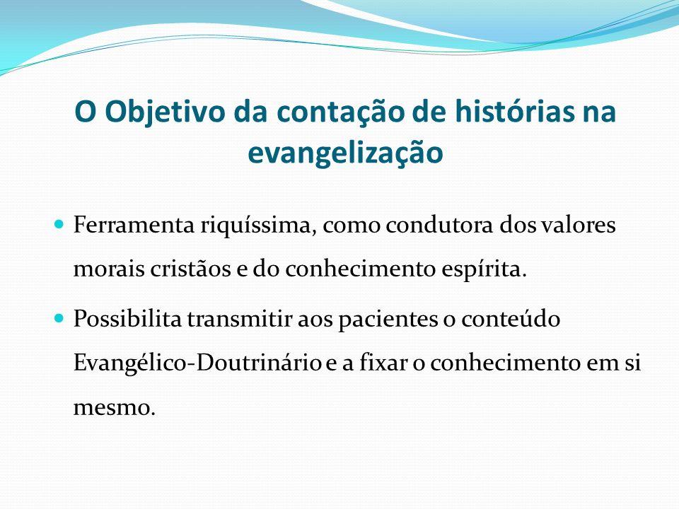 O Objetivo da contação de histórias na evangelização Ferramenta riquíssima, como condutora dos valores morais cristãos e do conhecimento espírita. Pos