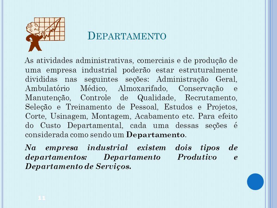 C USTO DEPARTAMENTAL Custo Departamental é um sistema de atribuição dos Custos Indiretos de Fabricação aos produtos por Departamentos. Departamento é