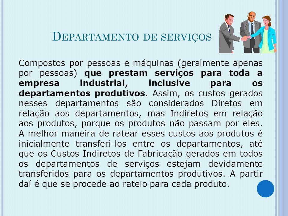 D EPARTAMENTOS PRODUTIVOS Compostos por pessoas e máquinas, responsáveis pela fabricação dos produtos. Nesses departamentos são gerados, em relação ao