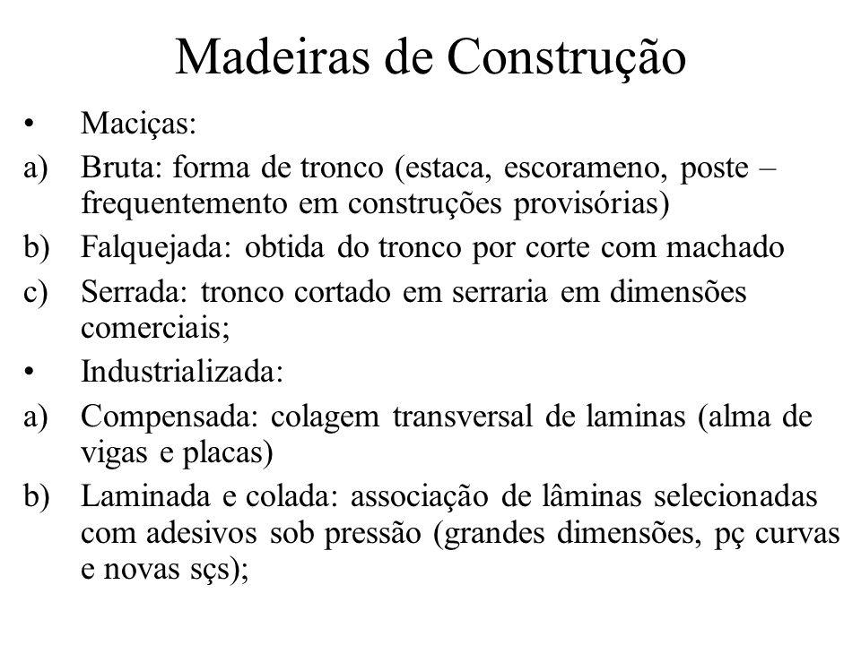 Madeiras de Construção Maciças: a)Bruta: forma de tronco (estaca, escorameno, poste – frequentemento em construções provisórias) b)Falquejada: obtida