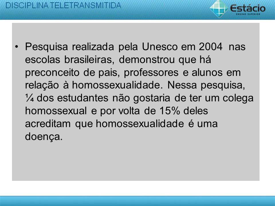 Pesquisa realizada pela Unesco em 2004 nas escolas brasileiras, demonstrou que há preconceito de pais, professores e alunos em relação à homossexualid