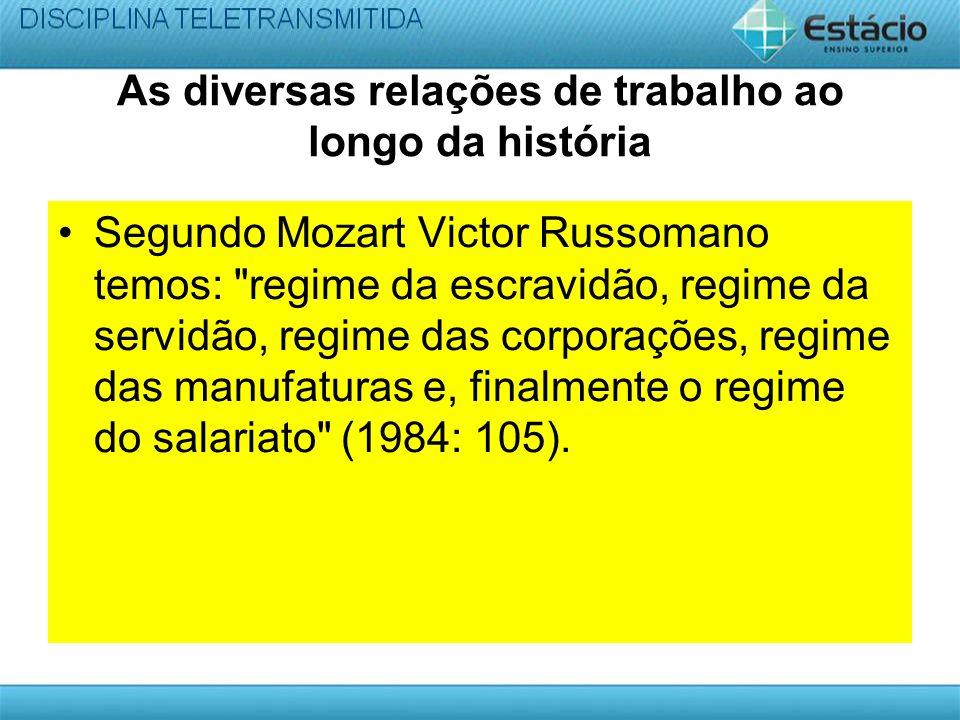 As diversas relações de trabalho ao longo da história Segundo Mozart Victor Russomano temos: