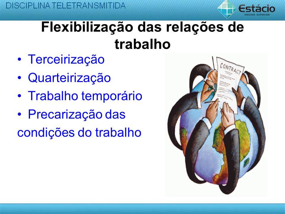 Flexibilização das relações de trabalho Terceirização Quarteirização Trabalho temporário Precarização das condições do trabalho