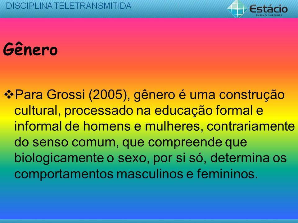 Gênero Para Grossi (2005), gênero é uma construção cultural, processado na educação formal e informal de homens e mulheres, contrariamente do senso co