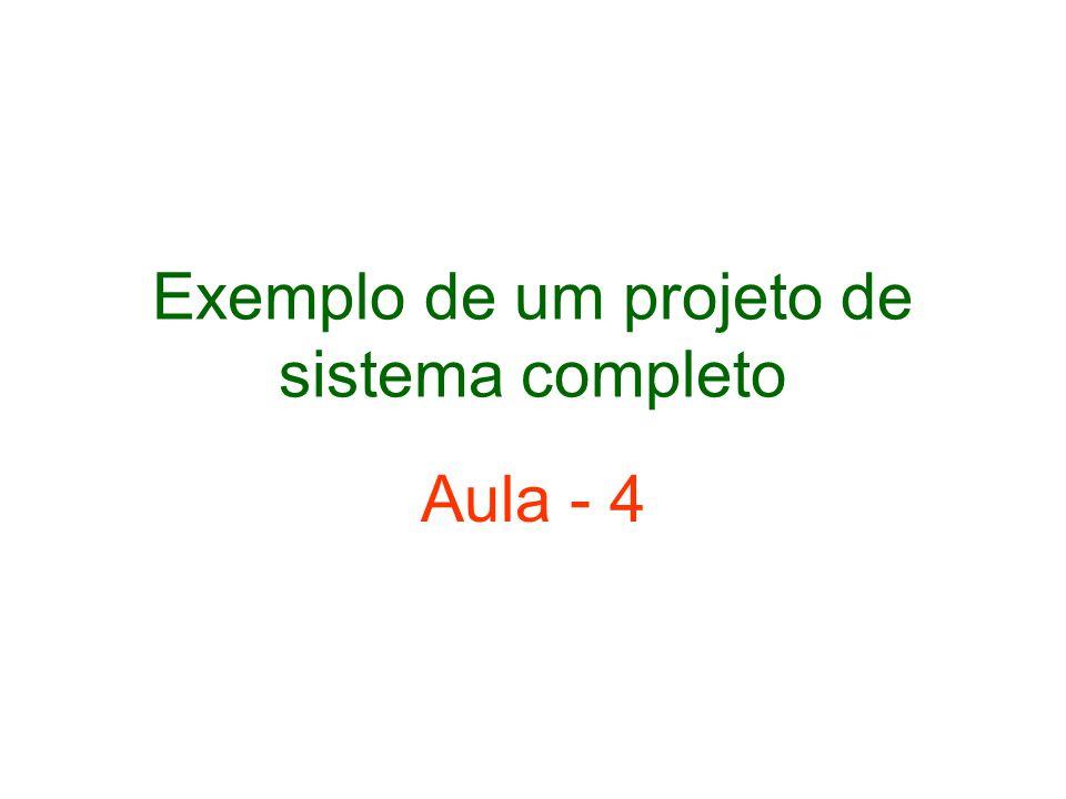 Exemplo de um projeto de sistema completo Aula - 4