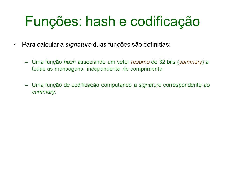 Funções: hash e codificação Para calcular a signature duas funções são definidas: –Uma função hash associando um vetor resumo de 32 bits (summary) a t