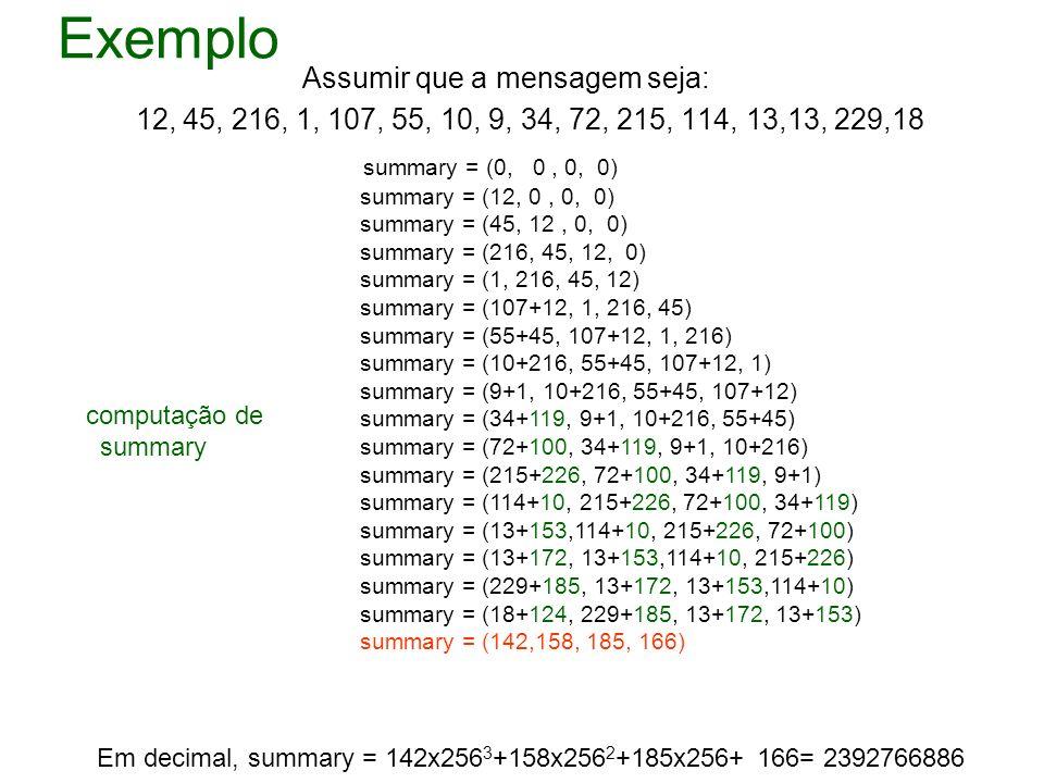 Exemplo Assumir que a mensagem seja: 12, 45, 216, 1, 107, 55, 10, 9, 34, 72, 215, 114, 13,13, 229,18 summary = (0, 0, 0, 0) summary = (12, 0, 0, 0) su