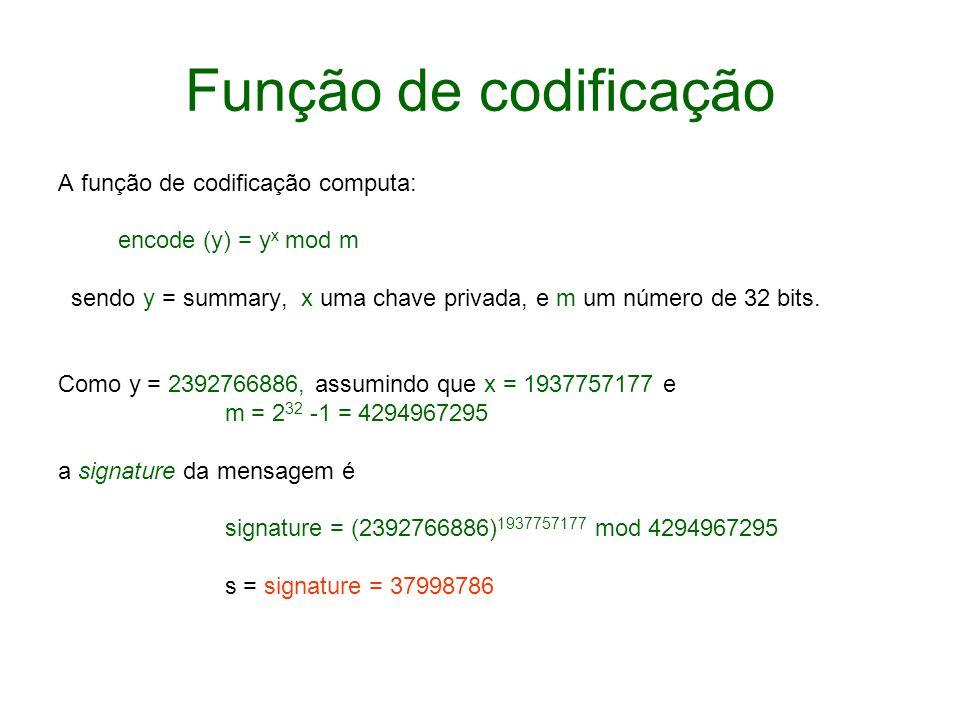 Função de codificação A função de codificação computa: encode (y) = y x mod m sendo y = summary, x uma chave privada, e m um número de 32 bits. Como y