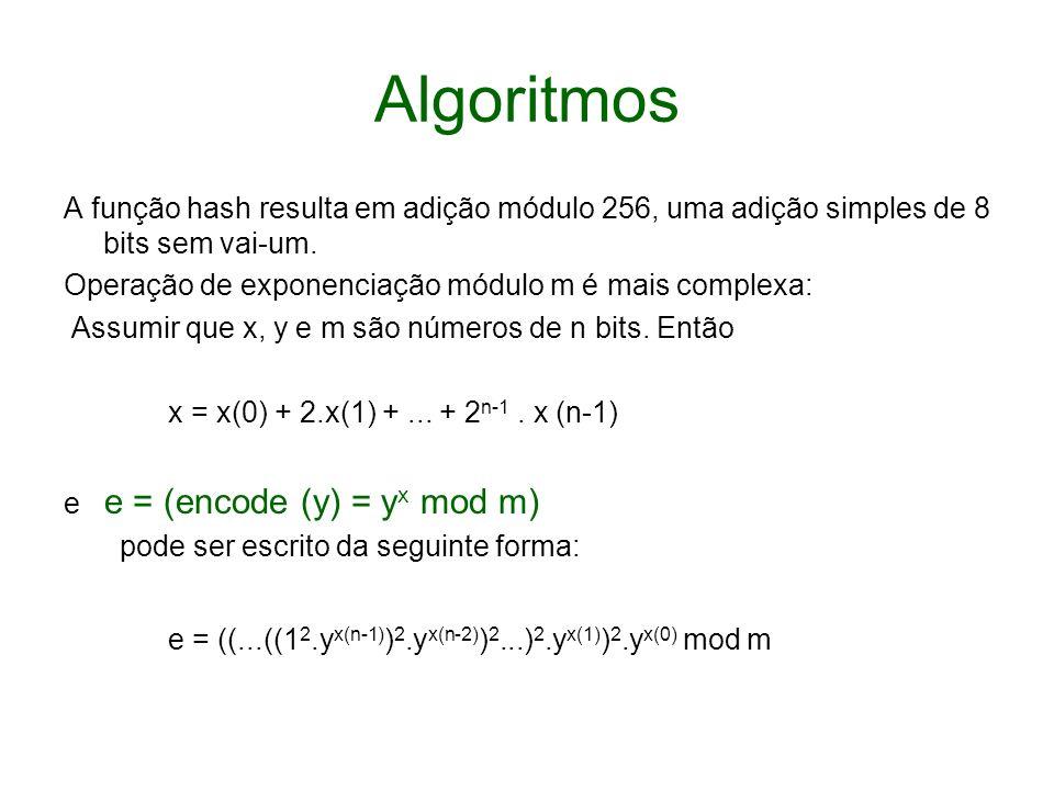Algoritmos A função hash resulta em adição módulo 256, uma adição simples de 8 bits sem vai-um. Operação de exponenciação módulo m é mais complexa: As