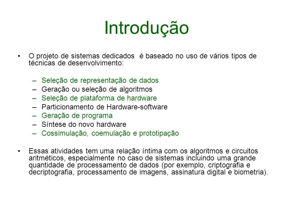 Introdução O projeto de sistemas dedicados é baseado no uso de vários tipos de técnicas de desenvolvimento: –Seleção de representação de dados –Geraçã