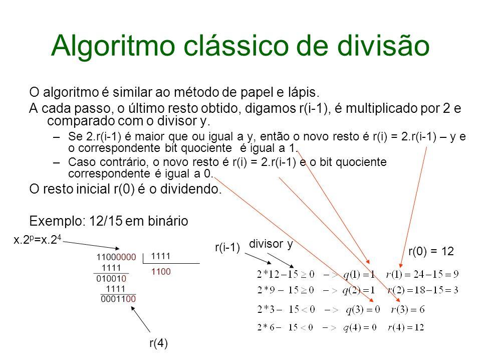 Algoritmo clássico de divisão O algoritmo é similar ao método de papel e lápis. A cada passo, o último resto obtido, digamos r(i-1), é multiplicado po