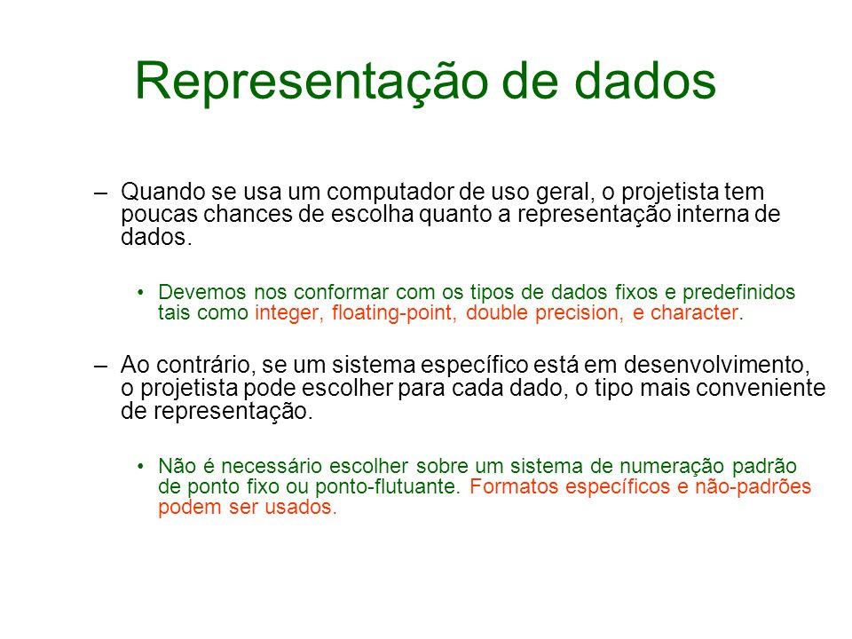 Representação de dados –Quando se usa um computador de uso geral, o projetista tem poucas chances de escolha quanto a representação interna de dados.