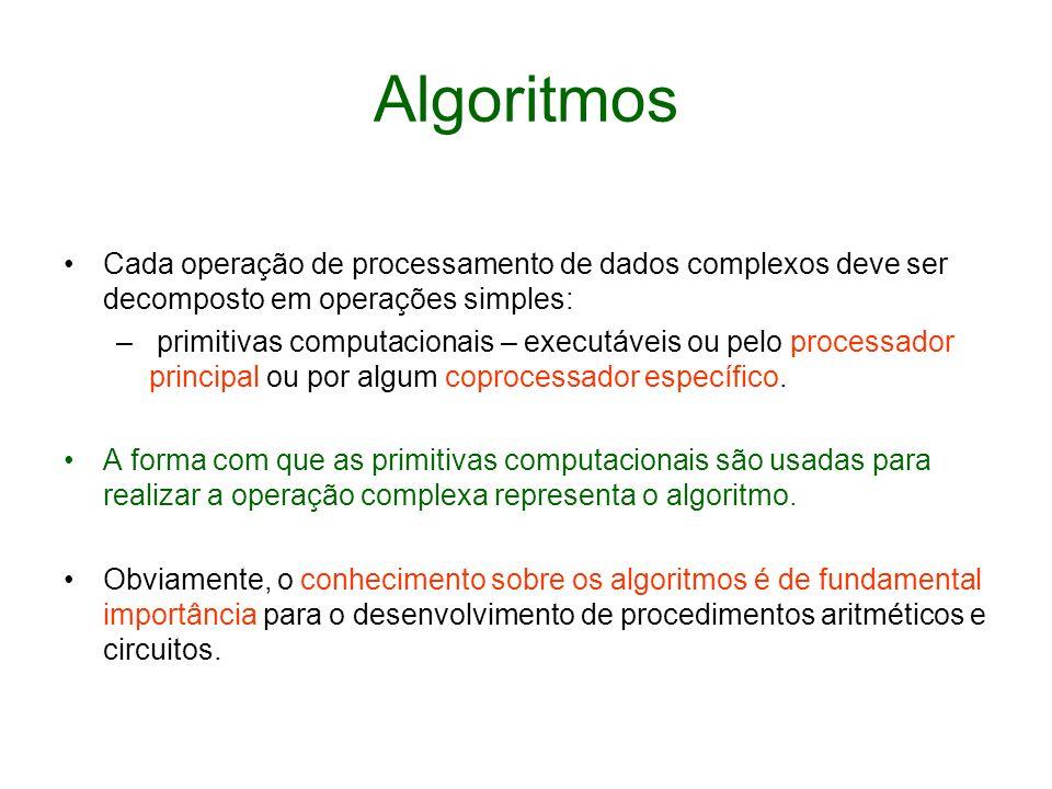 Algoritmos Cada operação de processamento de dados complexos deve ser decomposto em operações simples: – primitivas computacionais – executáveis ou pe
