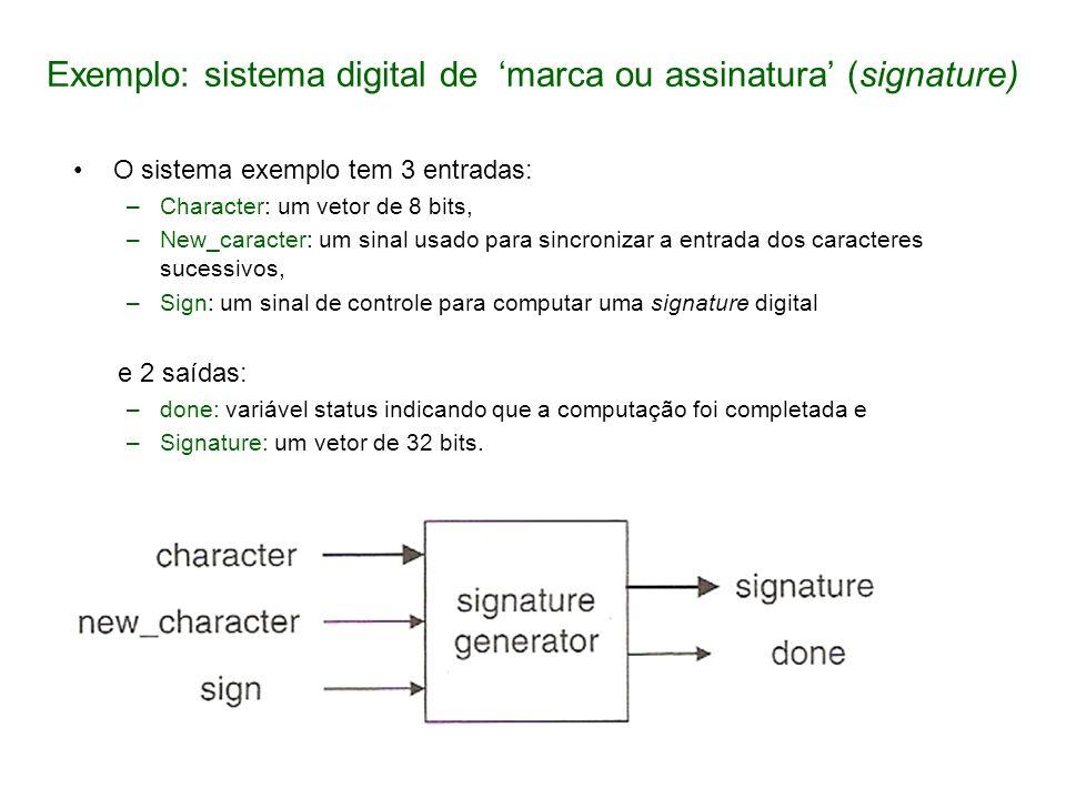 Exemplo: sistema digital de marca ou assinatura (signature) O sistema exemplo tem 3 entradas: –Character: um vetor de 8 bits, –New_caracter: um sinal