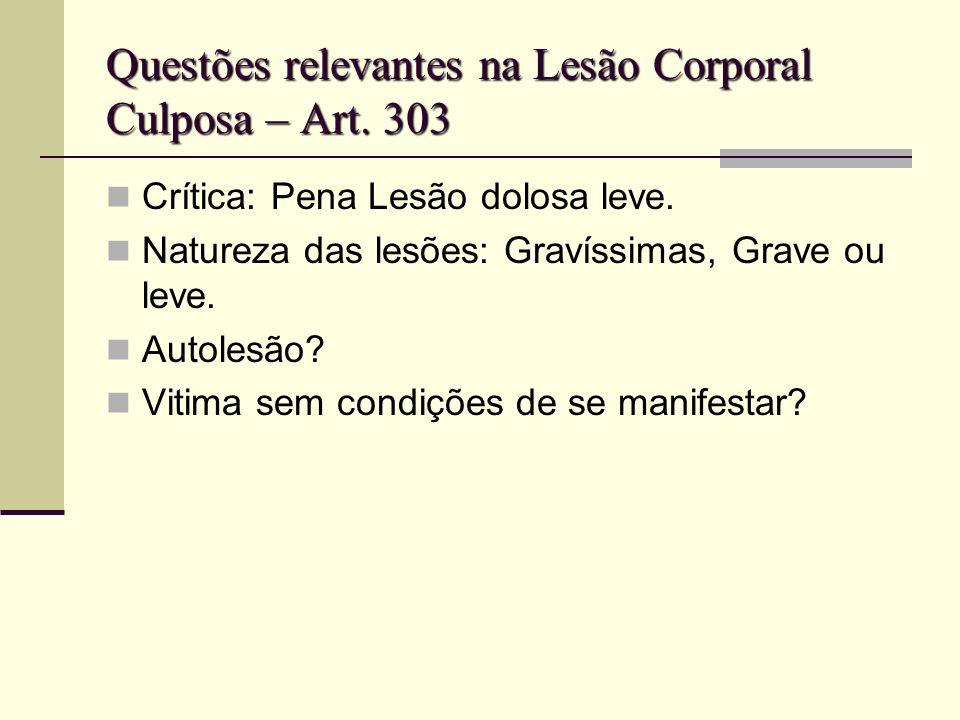 Questões relevantes na Lesão Corporal Culposa – Art. 303 Crítica: Pena Lesão dolosa leve. Natureza das lesões: Gravíssimas, Grave ou leve. Autolesão?