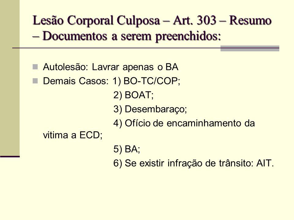 Lesão Corporal Culposa – Art. 303 – Resumo – Documentos a serem preenchidos: Autolesão: Lavrar apenas o BA Demais Casos: 1) BO-TC/COP; 2) BOAT; 3) Des