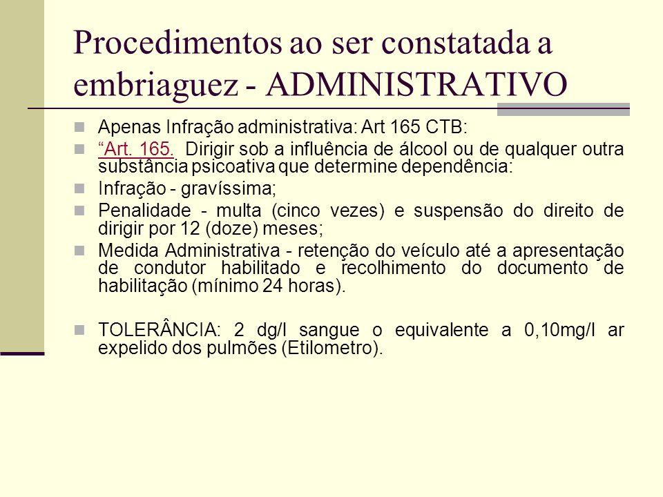 Procedimentos ao ser constatada a embriaguez - ADMINISTRATIVO Apenas Infração administrativa: Art 165 CTB: Art. 165. Dirigir sob a influência de álcoo