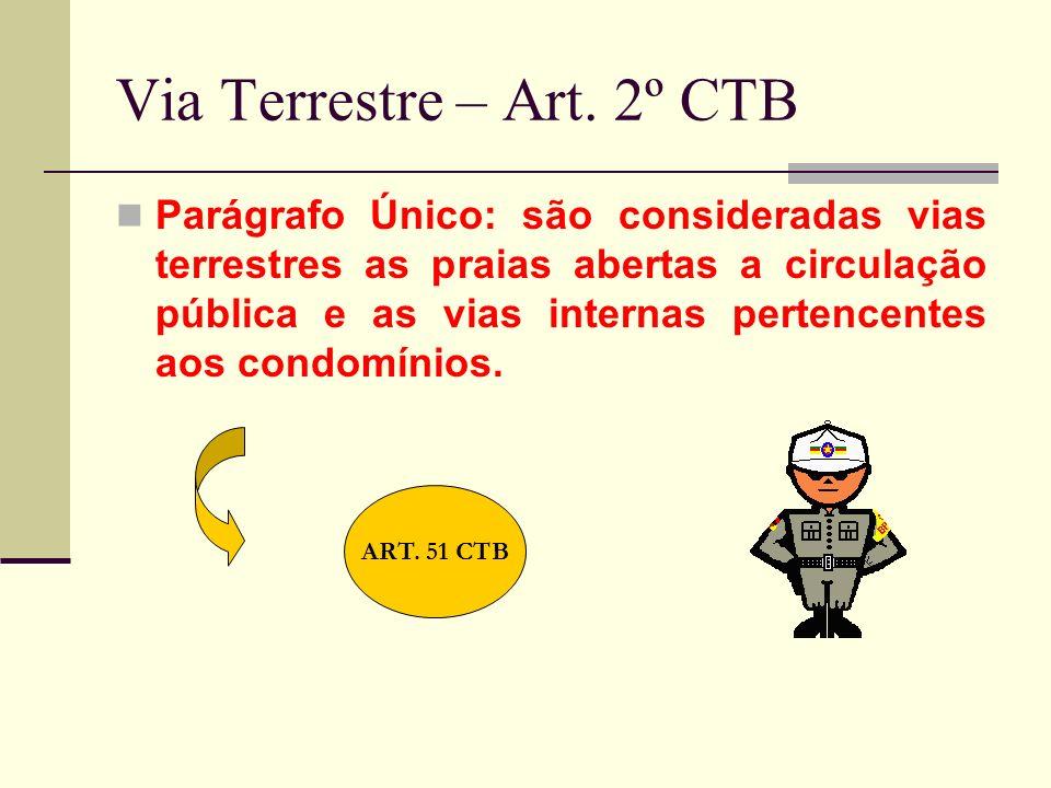 Via Terrestre – Art. 2º CTB Parágrafo Único: são consideradas vias terrestres as praias abertas a circulação pública e as vias internas pertencentes a