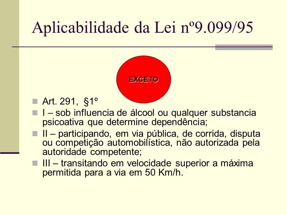 Aplicabilidade da Lei nº9.099/95 Art. 291, §1º I – sob influencia de álcool ou qualquer substancia psicoativa que determine dependência; II – particip