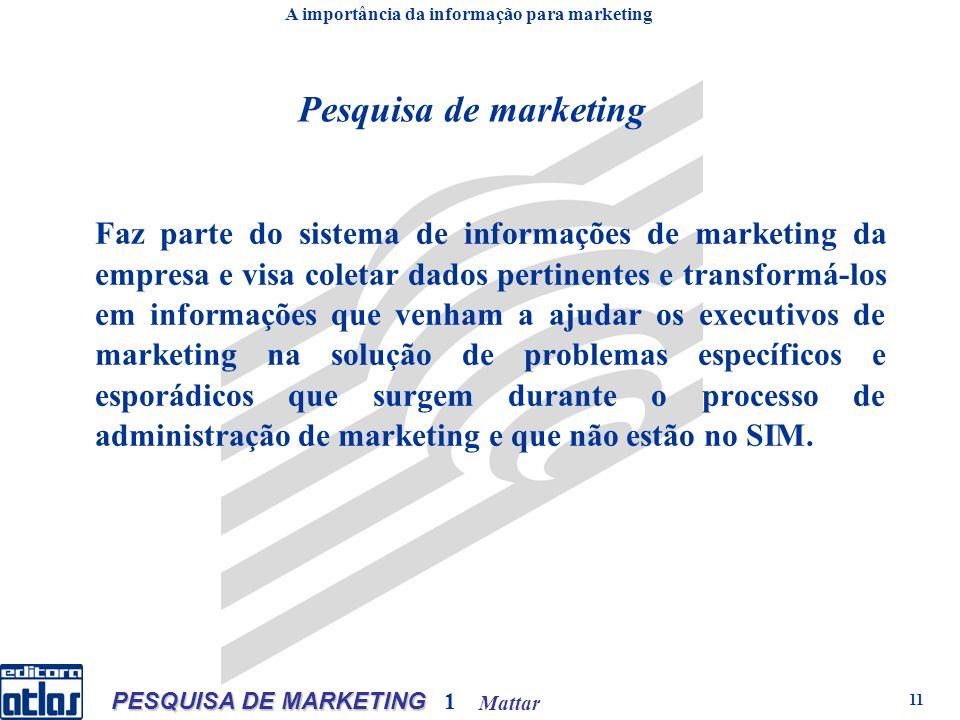 Mattar PESQUISA DE MARKETING 1 11 Pesquisa de marketing Faz parte do sistema de informações de marketing da empresa e visa coletar dados pertinentes e