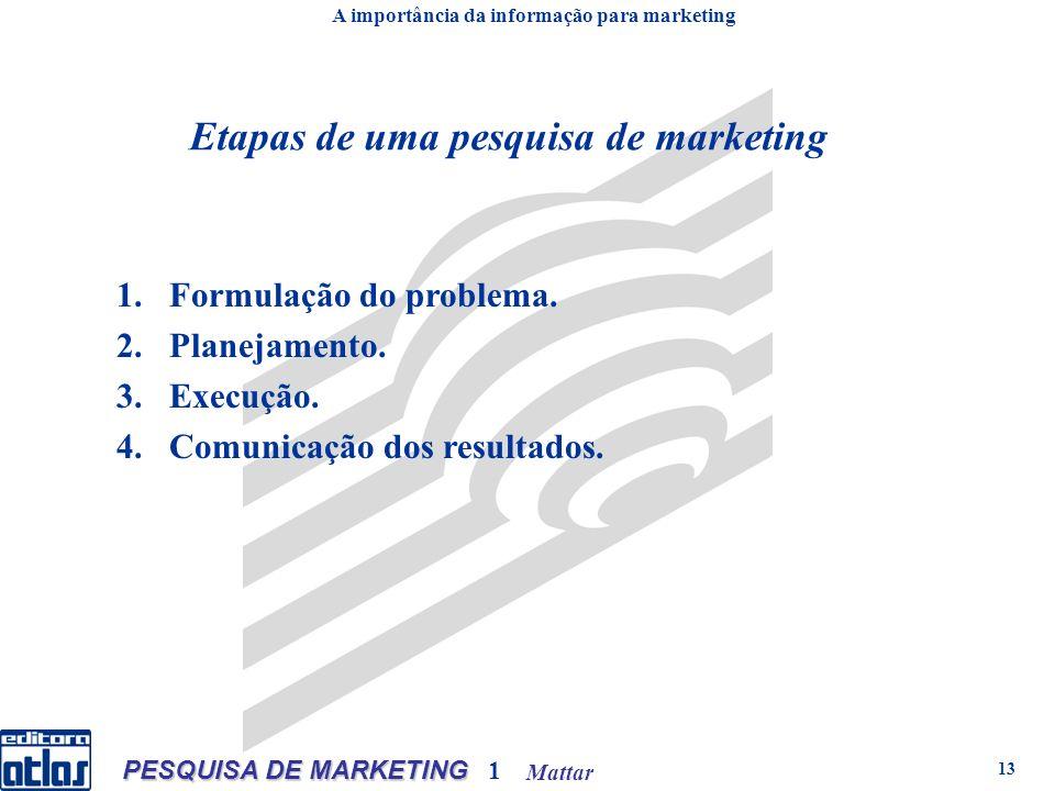 Mattar PESQUISA DE MARKETING 1 13 Etapas de uma pesquisa de marketing 1.Formulação do problema. 2.Planejamento. 3.Execução. 4.Comunicação dos resultad