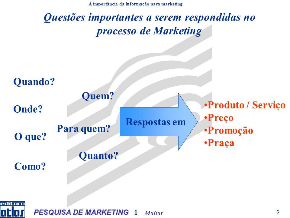 Mattar PESQUISA DE MARKETING 1 3 Questões importantes a serem respondidas no processo de Marketing Quando? Onde? Quem? Produto / Serviço Preço Promoçã