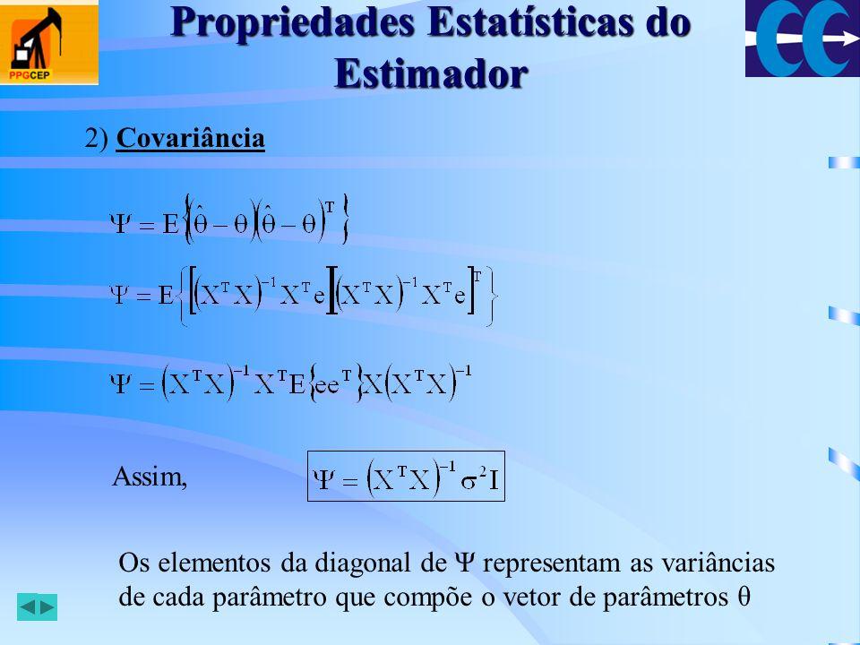 Propriedades Estatísticas do Estimador Para N observações: Calculando: Se o estimador for consistente: em que Γ é uma matriz constante não-singular Então,