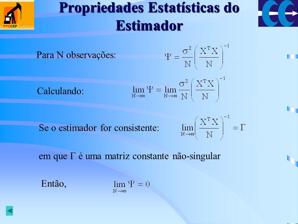 Propriedades Estatísticas do Estimador Conclusão: Se e Então quando O estimador é consistente