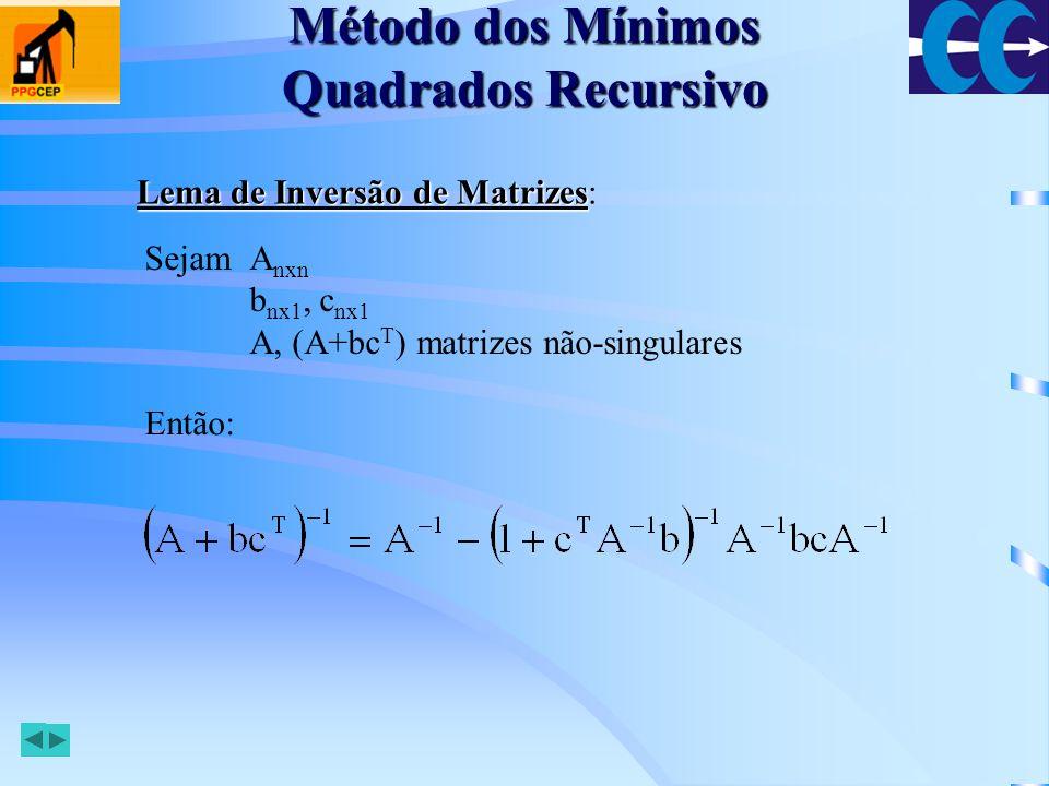 Método dos Mínimos Quadrados Recursivo Definindo: E usando o lema de inversão de matrizes, com: Temos que: