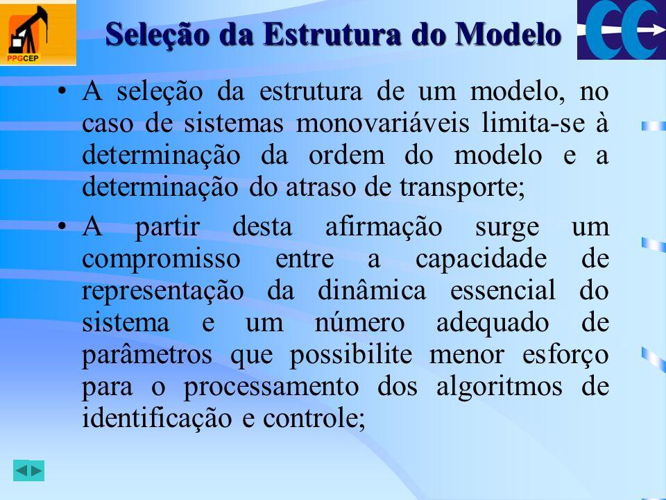 Seleção da Estrutura do Modelo Definindo: Podemos utilizar o critério de Akaike para determinar a melhor estrutura: em que N é o numero de medidas realizadas durante o experimento e p é o número de parâmetros utilizados no modelo estimado;