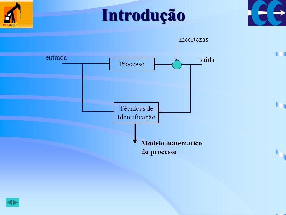 Etapas Planejamento Experimental –o sinal de entrada deve excitar todos os modos do sistema –um bom método de identificação deve ser insensível às características do sinal de entrada Seleção da Estrutura do Modelo –pode ser feita a modelagem usando leis físicas –a modelagem pode ser do tipo caixa preta, quando não se tem nenhum conhecimento sobre o processo –pode ser caixa cinza, quando se tem algum conhecimento Estimação de Parâmetros –baseada em: dados de entrada e saída do processo, uma classe de modelos e um critério Validação –verificação da adequação do modelo escolhido