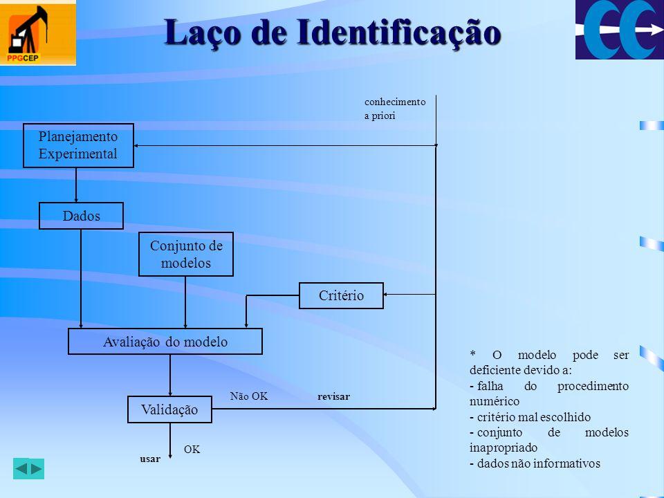 Procedimentos Diferentes procedimentos para a geração do sinal de entrada, medição da saída e armazenamento dos dados: –Teste de resposta ao degrau –Teste de resposta em freqüência –Off-line –On-line