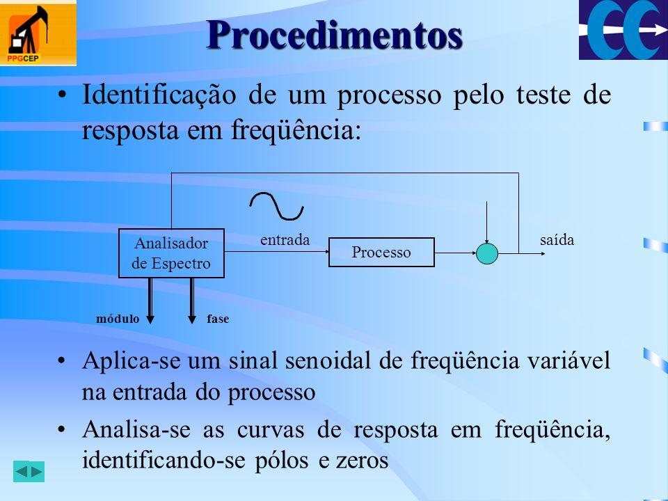 Procedimentos Identificação off-line: –Excita-se o processo e armazenam-se as medidas de entrada e saída para aplicação e avaliação a posteriori dos algoritmos não recursivos –É necessário o conhecimento da estrutura do modelo, envolvendo ordem e atraso de transporte