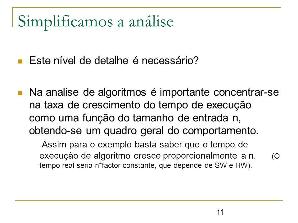 11 Simplificamos a análise Este nível de detalhe é necessário? Na analise de algoritmos é importante concentrar-se na taxa de crescimento do tempo de