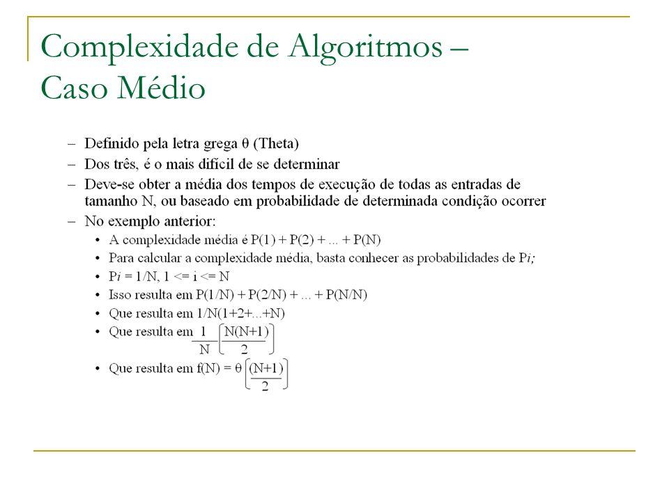 Complexidade de Algoritmos – Caso Médio
