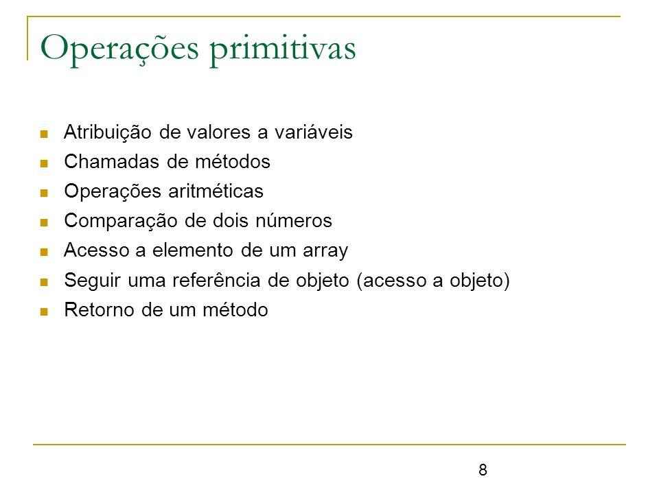 8 Operações primitivas Atribuição de valores a variáveis Chamadas de métodos Operações aritméticas Comparação de dois números Acesso a elemento de um