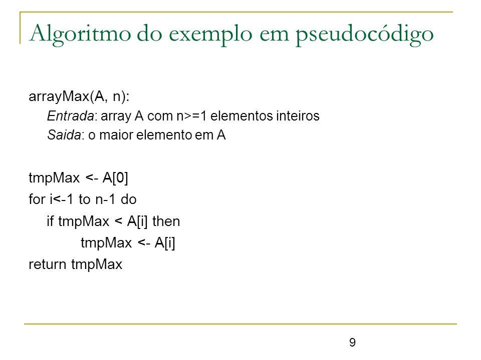 9 Algoritmo do exemplo em pseudocódigo arrayMax(A, n): Entrada: array A com n>=1 elementos inteiros Saida: o maior elemento em A tmpMax <- A[0] for i<