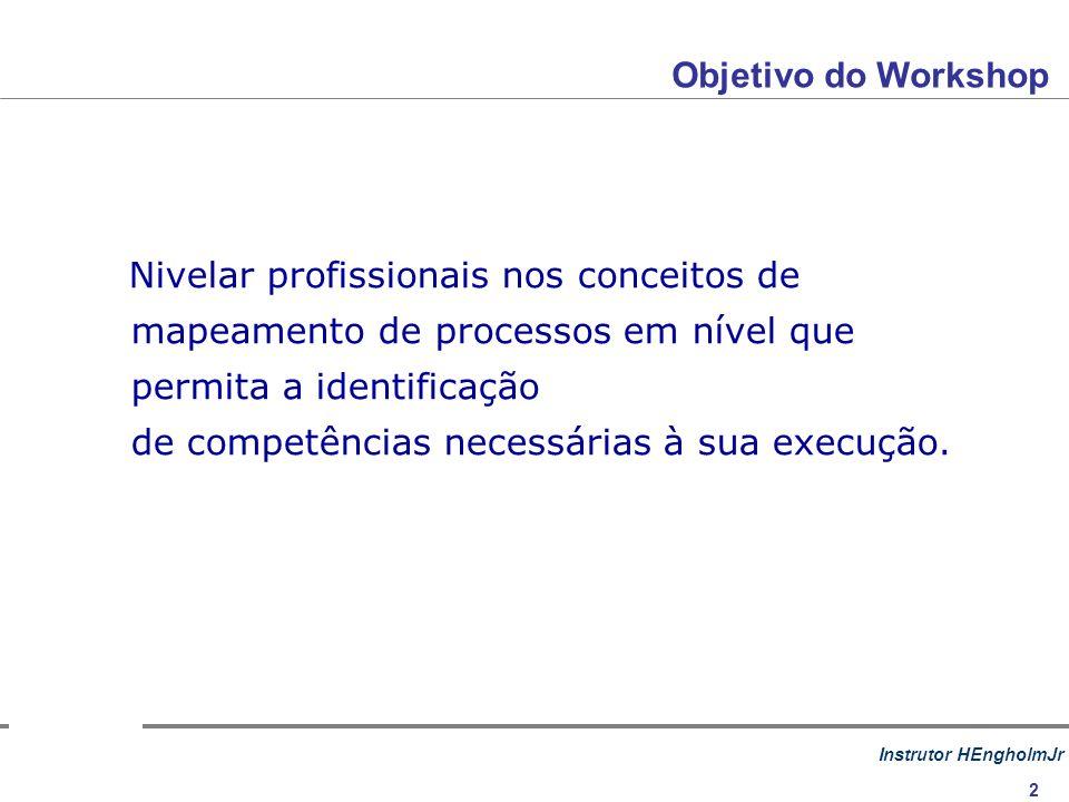 Instrutor HEngholmJr 2 Nivelar profissionais nos conceitos de mapeamento de processos em nível que permita a identificação de competências necessárias