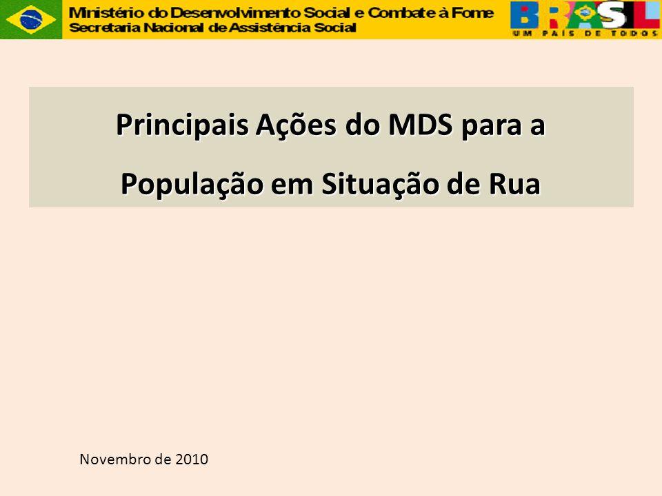 Principais Ações do MDS para a População em Situação de Rua Novembro de 2010
