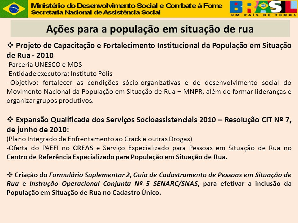 Projeto de Capacitação e Fortalecimento Institucional da População em Situação de Rua - 2010 -Parceria UNESCO e MDS -Entidade executora: Instituto Pól