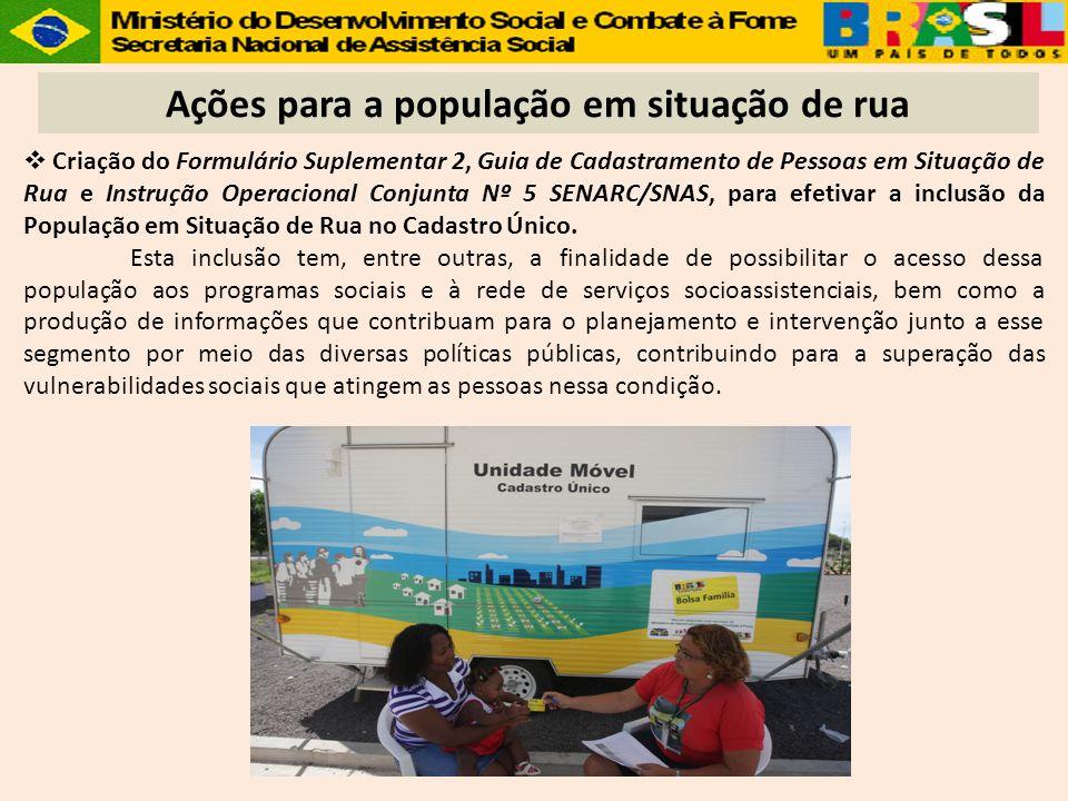 Ações para a população em situação de rua Criação do Formulário Suplementar 2, Guia de Cadastramento de Pessoas em Situação de Rua e Instrução Operaci