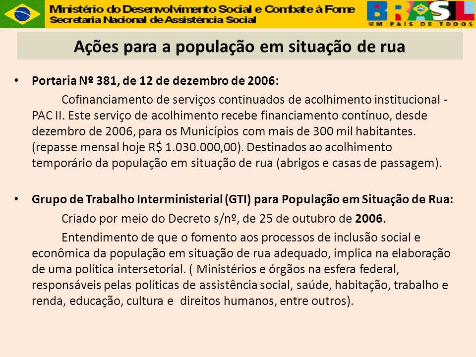 Portaria Nº 381, de 12 de dezembro de 2006: Cofinanciamento de serviços continuados de acolhimento institucional - PAC II. Este serviço de acolhimento