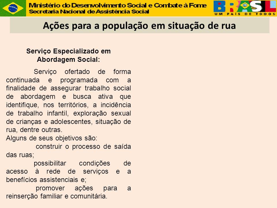 Ações para a população em situação de rua Serviço Especializado em Abordagem Social: Serviço ofertado de forma continuada e programada com a finalidad