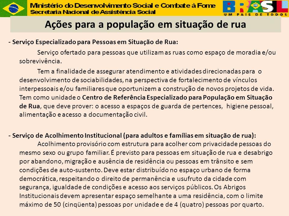 - Serviço Especializado para Pessoas em Situação de Rua: Serviço ofertado para pessoas que utilizam as ruas como espaço de moradia e/ou sobrevivência.