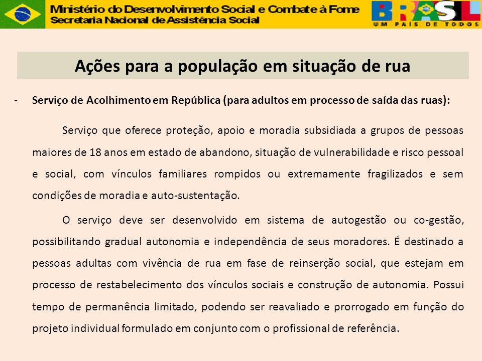-Serviço de Acolhimento em República (para adultos em processo de saída das ruas): Serviço que oferece proteção, apoio e moradia subsidiada a grupos d