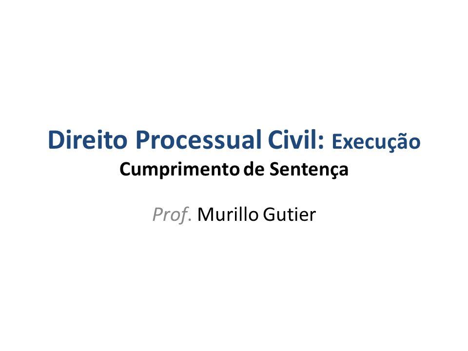 Direito Processual Civil: Execução Cumprimento de Sentença Prof. Murillo Gutier